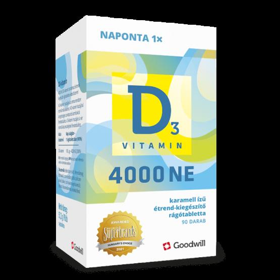 D3-vitamin 4000NE rágótabletta 90x