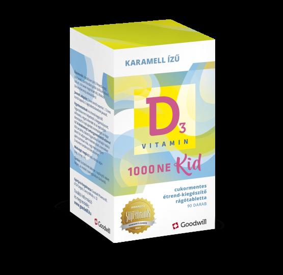 D3-Vitamin Kid 1000NE étrend-kiegészítő rágótabletta gyermekeknek